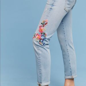Anthro| Pilcro Floral Embroidered Mid Rise Ankle